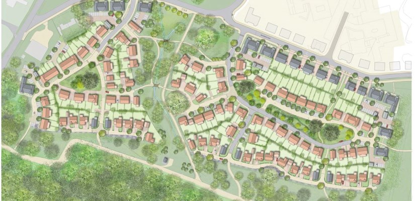 An aerial view of the approved plans for the CALA development at Mindenhurst.