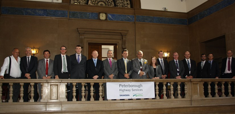 The Skanska and Peterborough City Council team at the contract signing ceremony in Peterborough Town Hall.