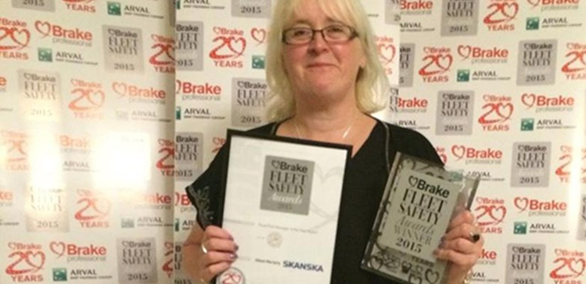 Alison Moriarty, Fleet Road Risk & Compliance Manager at Skanska UK, has been named the Road Risk Manager of the Year at the Brake 2015 Fleet Safety Awards