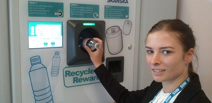 Catherine Burrows, Skanska's Environmental Waste Manager, uses the ReVend machine at Whipps Cross University Hospital.