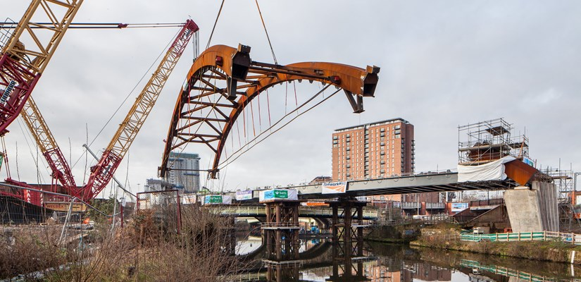 The arches are the centre-piece of the Ordsall Chord.