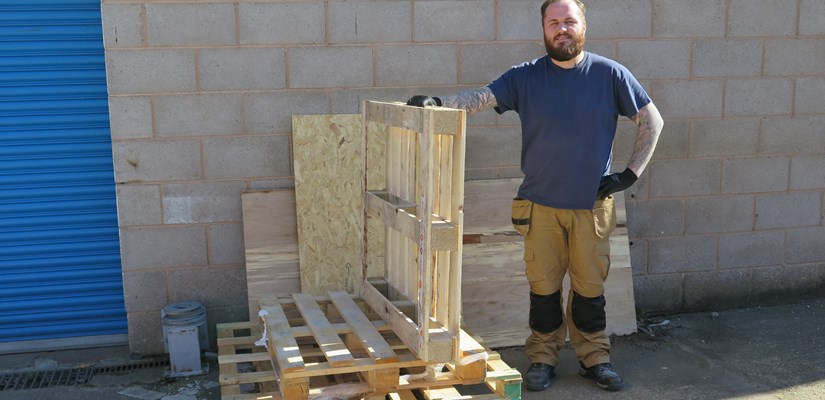 Mitchell Martin found an environmentally-friendly was to dispose of wooden pallets on his project.