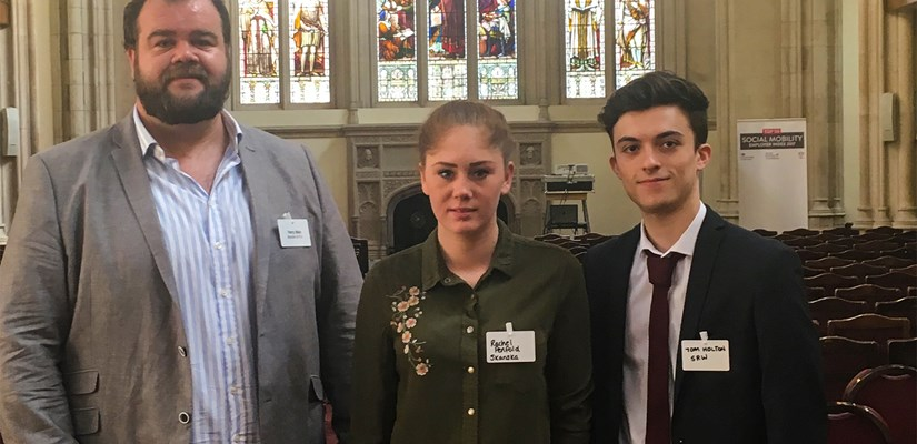 From left to right this shows: Skanska Community Engagement Advisor Harry Wain, Rachel Penfold, civil engineering apprentice at Careys and Skanska trainee Tom Holton.
