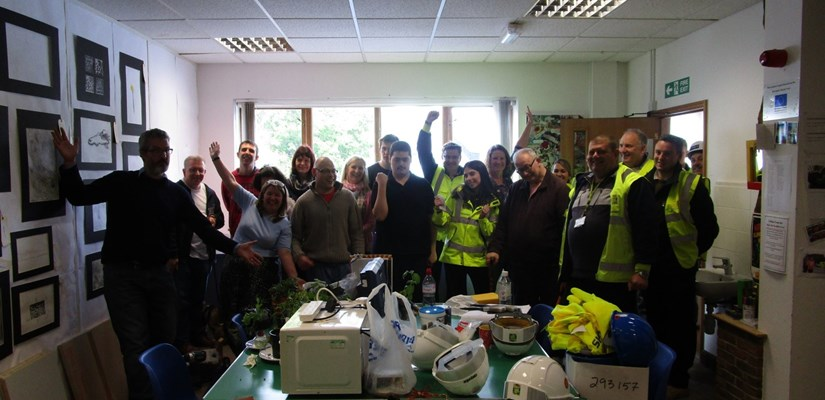 Skanska volunteers and Red2Green learners celebrate their success