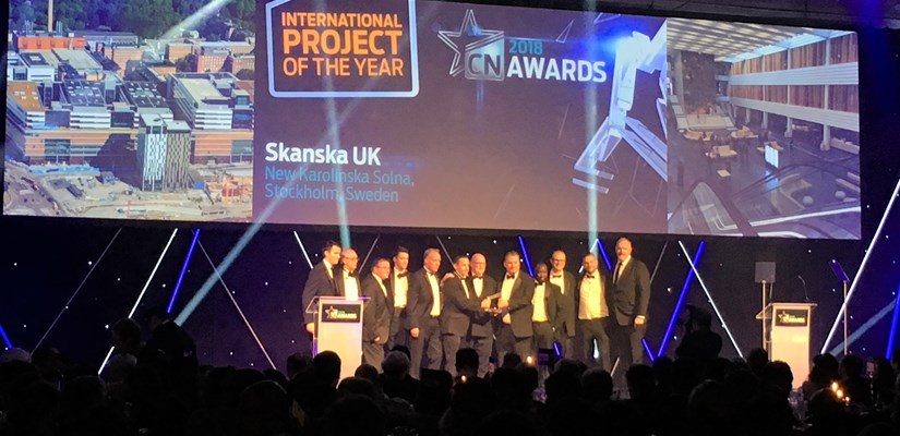 Skanska won in the International Project of the Year category for the New Karolinska Solna hospital.
