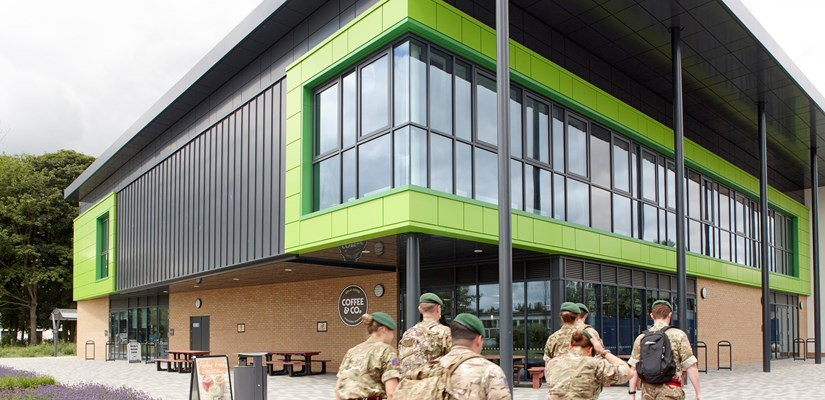 The new recreational space created at Worthy Down camp is a hub of activity for military personnel.