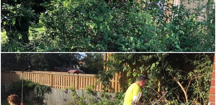 Before and after the team tidied the garden at the Move On Centre, Enfield