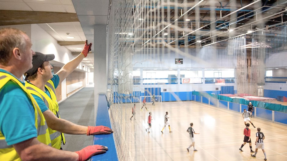 Brent-Civic-Centre-worker-inspect-sports-hall