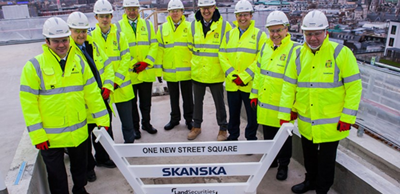 Skanska and Land Securities celebrate the topping out on the One New Street Square