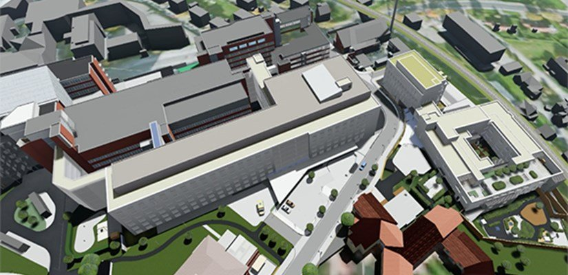 Skanska UK and Norway will expand the Vestfold Hospital to provide new somatic care and psychiatric buildings (centre and right)