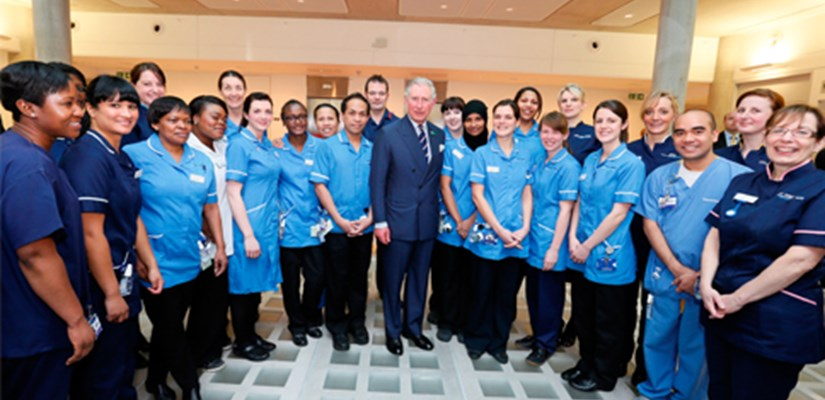 His Royal Highness The Prince of Wales and The Duchess of Cornwall meet with patients and staff at The University College Hospital Macmillan Cancer Centre