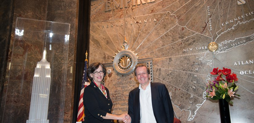 Skanska UK's Bristol2015 sponsorship was sealed by Beth Heider and George Ferguson at our Empire State Building office in New York.