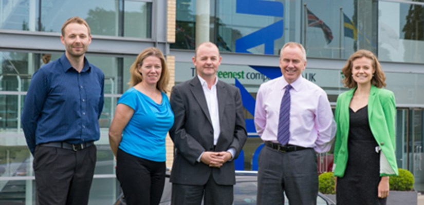 Left to right: Skanska's James McKenzie-Boyle, Jennifer Clark, Groundwork Chief Executive Graham Duxbury, Skanska's Paul Chandler and Alice Jennison