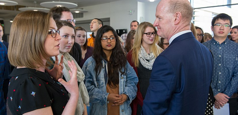 Minister David Willetts meets students at Bath Spa University