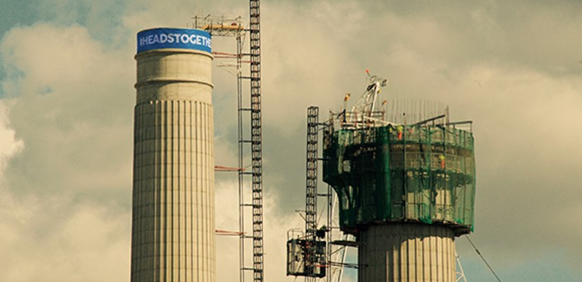 The north-east chimney of Battersea Power Station sporting a blue headband in support of the Heads Together campaign