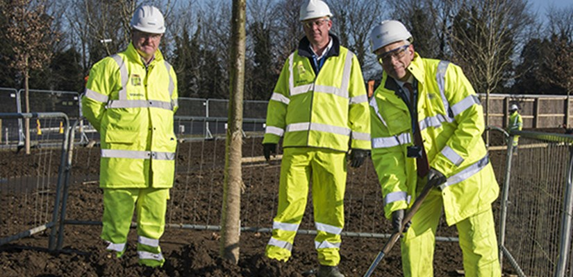 Located in the northern area of the 150-hectare site, the small oak marked the symbolic halfway point of the project's tree-planting programme