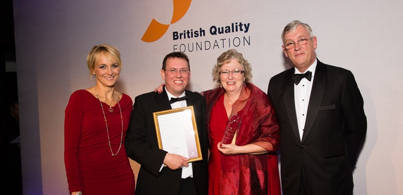 Award-winners: Steve Arkell and Kerry Ann Christelow are presented with the BQF award