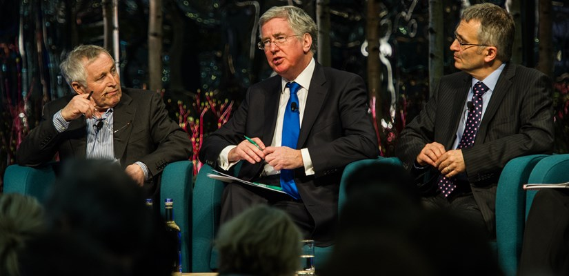 Current affairs presenter Jonathan Dimbleby chairs the panel discussion with Skanska's Mike Putnam and Michael Fallon MP