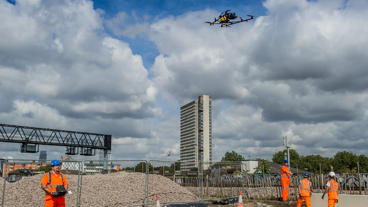 Drone-construction-site-Bermondsey-Dive-Under