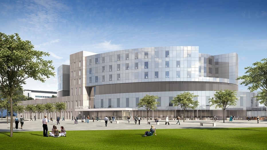 Artist's impression of the New Papworth Hospital north entrance